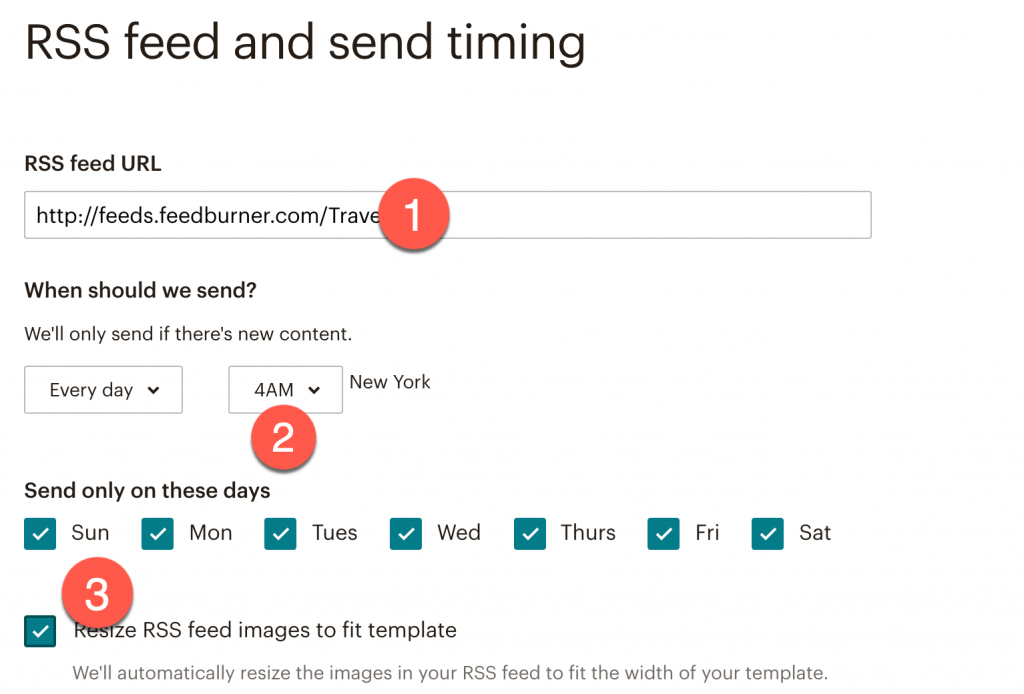 Add your RSS blog feed link to Mailchimp