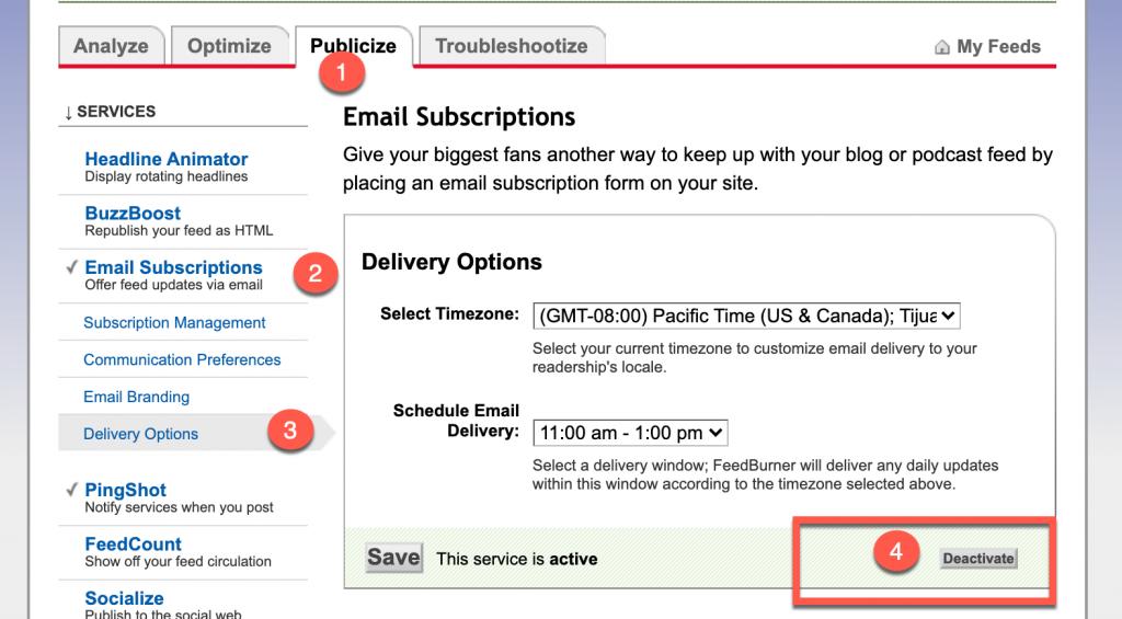 Deactivate email delivery in Feedburner