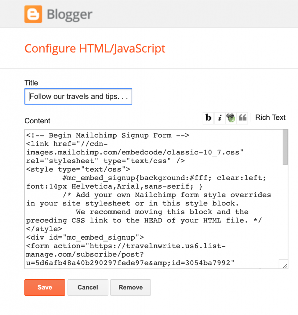 Paste the Mailchimp signup form code to your website