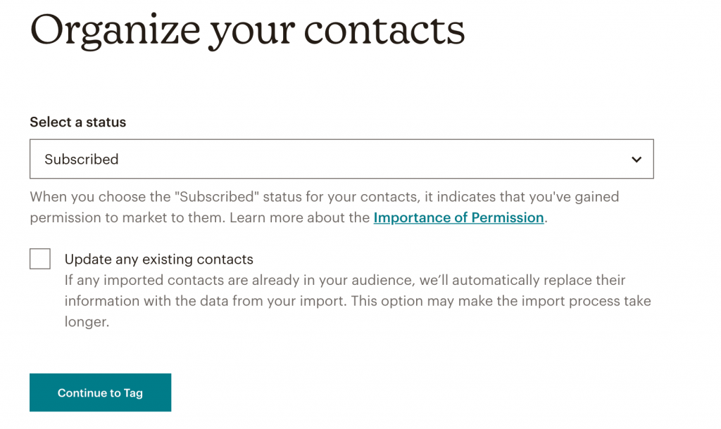 Select Status of uploaded contacts in Mailchimp