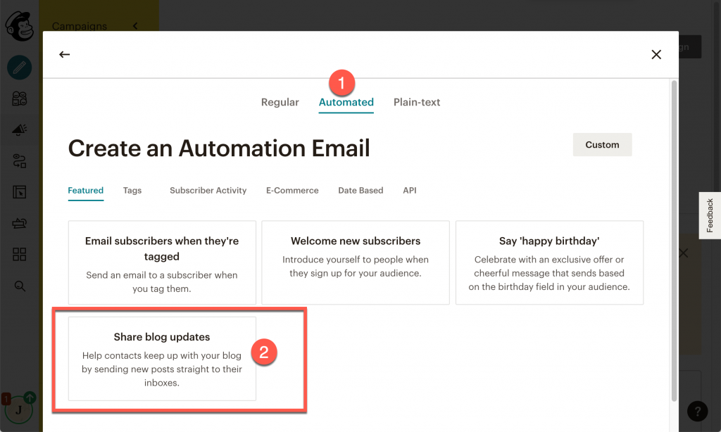 Select blog updates for the email type in Mailchimp