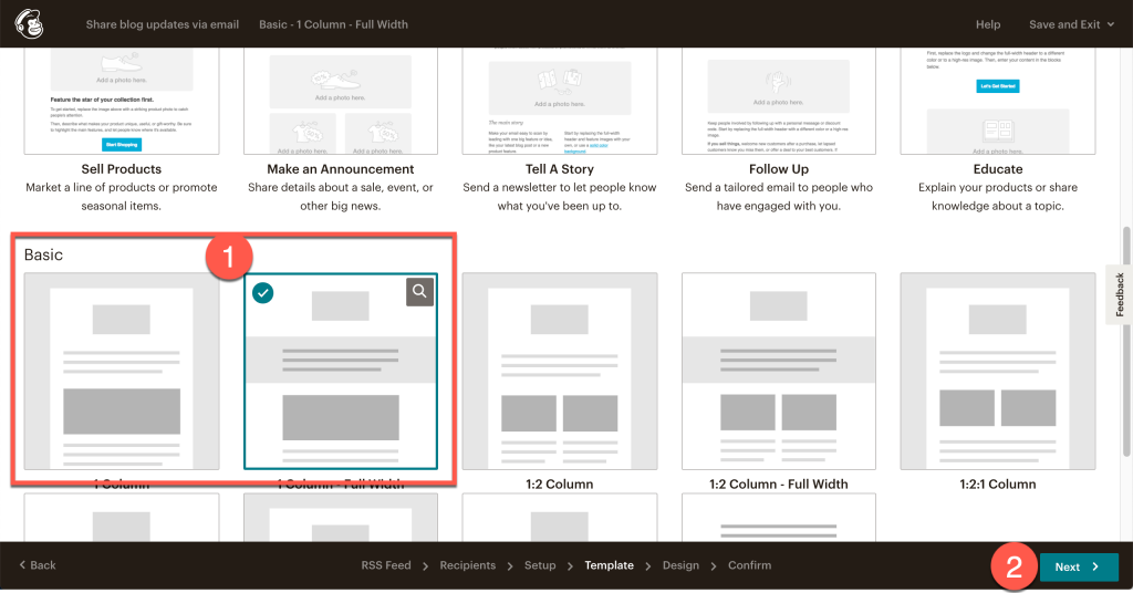 Select your email template in Mailchimp