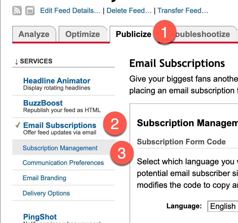 Step 2. Locate your subscribers in Feedburner